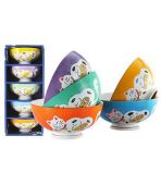 5pcs Lucky Cat Rice Bowl Set